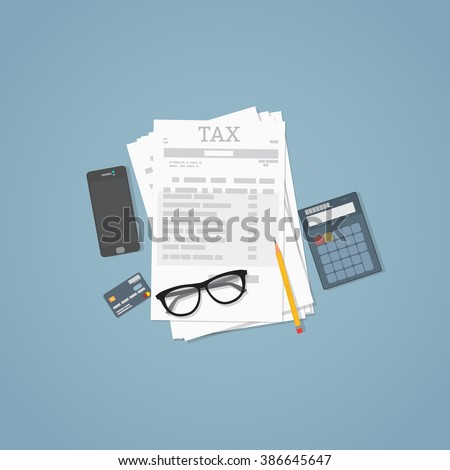 Flat illustration. Documents, pencil, business papers, calculator, glasses. Tax calculation. - stock vector