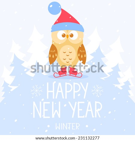 flat illustration for Christmas and New Year cute owl on skates with place for text - stock vector