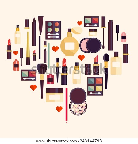 Flat illustration of cosmetic elements. Flat icon of cosmetics product. Vector flat design of make up. Vector flat design of make up procedure. Make up. Make up elements. Make up vector details.  - stock vector