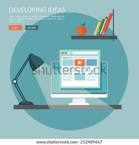 Flat illustration of development ideas. Desktop with computer and book shelf. Eps10 - stock vector