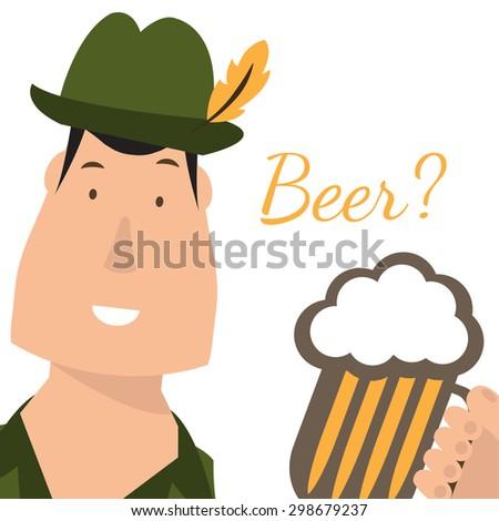 Flat illustration of german men with beer. Vector - stock vector