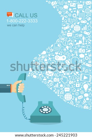 Flat illustration of hand holding phone with icons. Contact us. Eps8 - stock vector