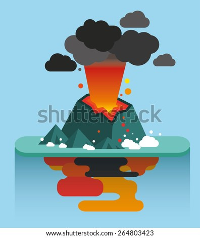 Flat illustration of natural disasters volcano island - stock vector