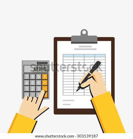 Flat illustration of tax document, spreadsheet, budget planning, market analysis, financial accounting.  - stock vector