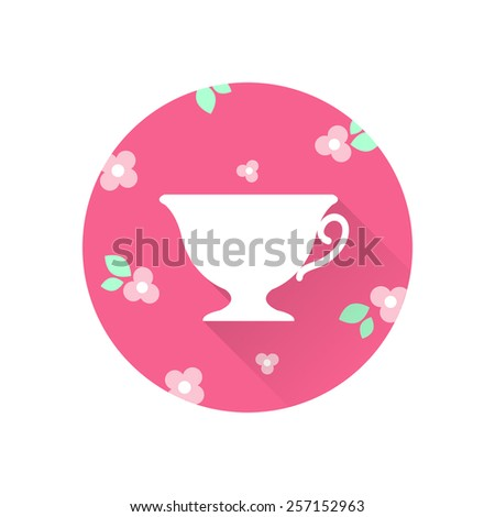 Flat illustration of white cup on pink circle with flowers, green leaves and long shadow. - stock vector