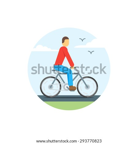 Flat illustration of young man on bicycle - stock vector