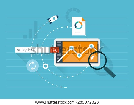 Flat illustration web analytics - stock vector