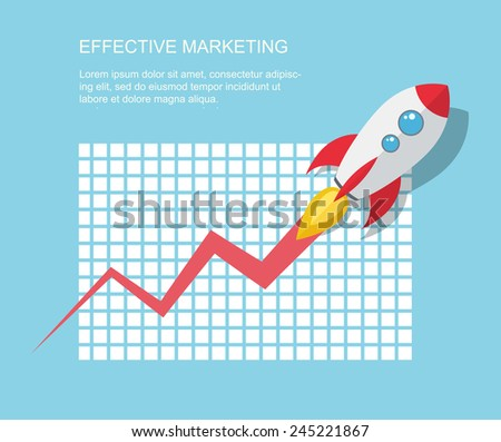 Flat illustration with spaceship. Growing concept. Eps10 - stock vector