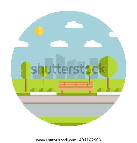 Flat illustration with the image of park with a bench and trees in the afternoon. Natural landscape in the flat style. - stock vector