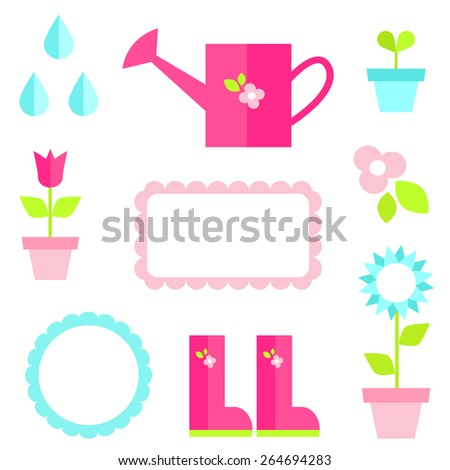 Flat illustrations of pink can, gumboots, green plant, flowers, raindrops, frames. Elements for design. - stock vector