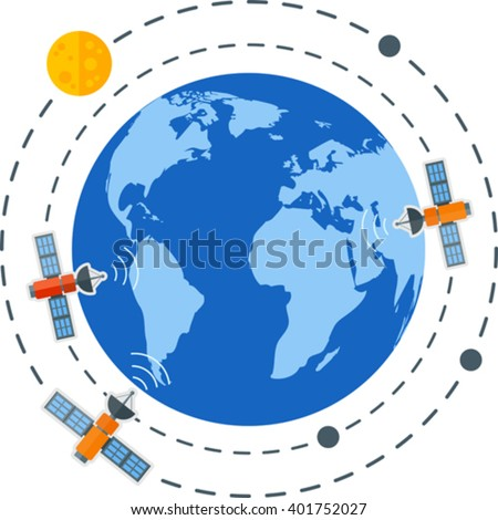 Flat image of Earth with satellites. Eps 10. Elements of this image furnished by NASA - stock vector