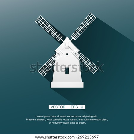 Flat image of the mill white on a blue background. Vector  Illustration Eps 10 - stock vector