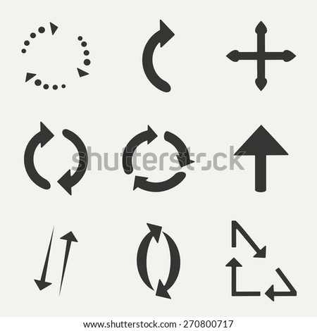 Flat in black and white concept mobile application arrows   - stock vector