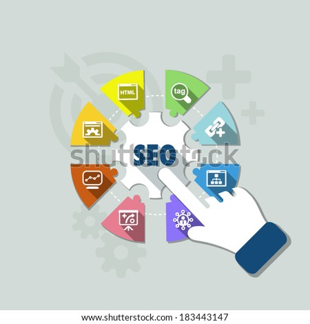 flat infographic about Search Engine Optimization process - stock vector
