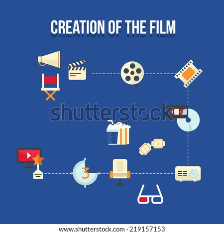 Flat infographic icon set with cd, film and cinema - stock vector