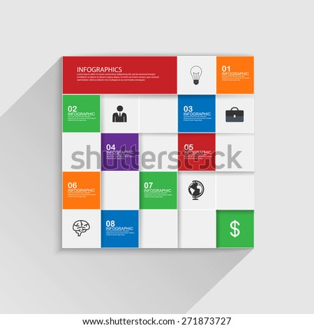 Flat infographic with a long shadow - stock vector
