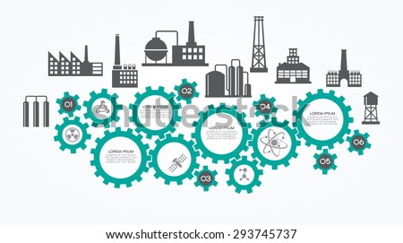 Flat infographics background with silhouettes of industrial buildings, gears, text.   - stock vector