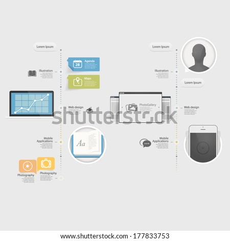 Flat Infographics design UI Elements with icons for templates.Collectio n of colorful flat kit UI navigation elements with icons for personal portfolio website templates - stock vector