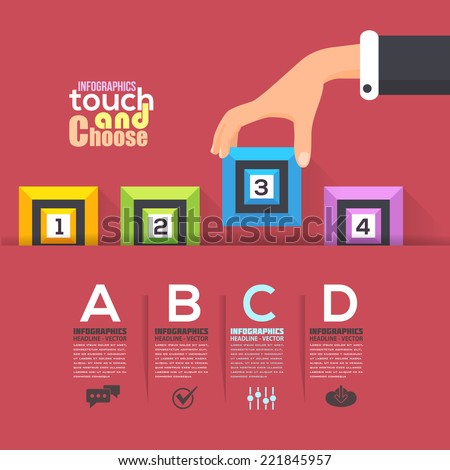 Flat Infographics Template and 3d Style Square Web Elements - Business, Marketing Touch and Choose Concept Vector Design on Red Background  - stock vector