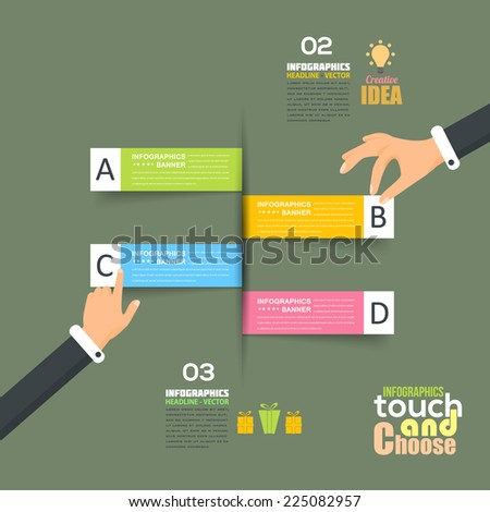 Flat Infographics Template and Ticket Style Web Elements - Business, Marketing Touch and Choose Concept Vector Design - stock vector