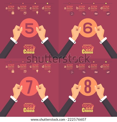 Flat Infographics Template and Web Elements - Business, Marketing Touch and Choose Concept Vector Design Cut Paper 5, 6, 7, 8 - stock vector