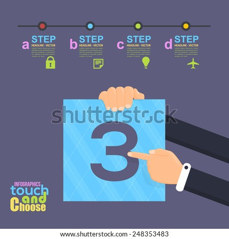 Flat Infographics Template and Web Elements - Business, Marketing Touch and Choose Concept Vector Design Number Three - stock vector