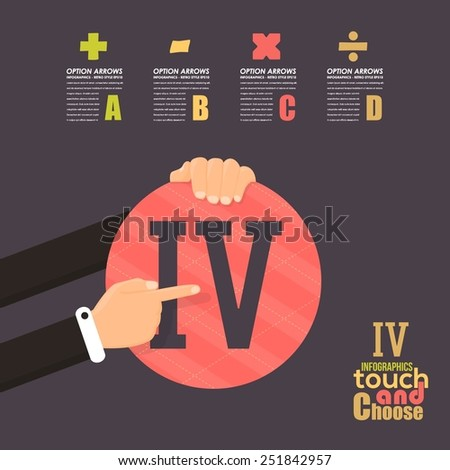 Flat Infographics Template and Web Elements - Business, Marketing Touch and Choose Concept Vector Design, Roman Numerals Four - stock vector