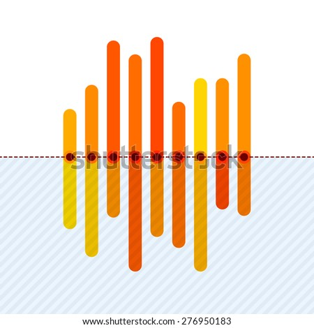 Flat infographics with asymmetric orange overlapping bars and dotted center line. - stock vector