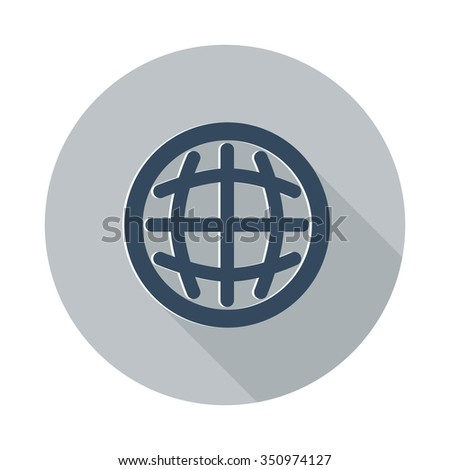 Flat International icon with long shadow on grey circle - stock vector