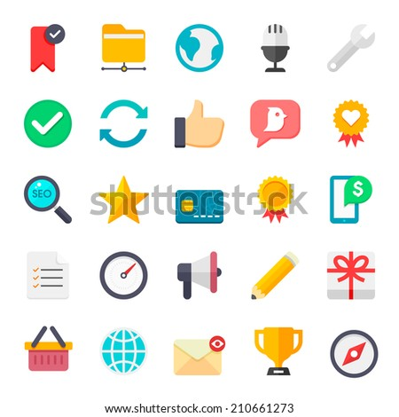 Flat internet icons vector collection with of web and business, office and marketing element. Isolated on white background. - stock vector