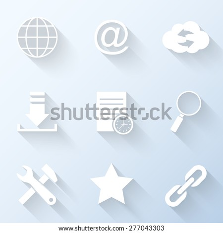 Flat internet icons with long shadows. Vector illustration - stock vector