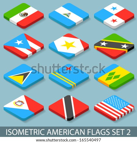 Flat Isometric American Flags Set 2 - stock vector