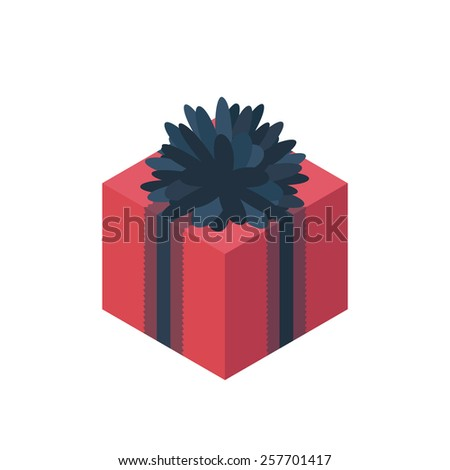 Flat isometric gift box icon with bow. Gift wrapping. Gift wrap. Gift package. Isometric gift box icon - stock vector