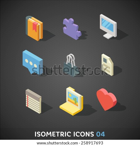 Flat Isometric Icons Set 4 - stock vector