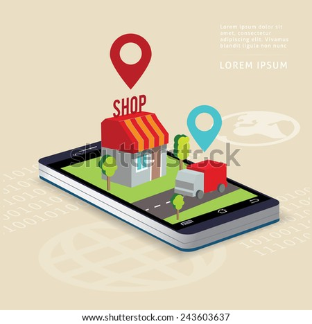 Flat isometric illustration e-commerce and on-line shopping tablet or smart phone . - stock vector