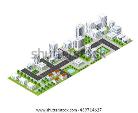 Flat isometric map, landscape city, building skyscraper, picture of the nature, parks, cafe, landmarks. Vector 3d top view block  area - stock vector