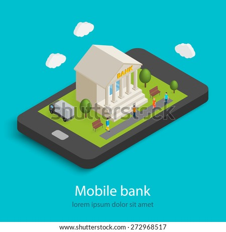 Flat isometric mobile banking, e banking concepts. 3D bank building is on smartphone,  isolated. Tiny people are coming to bank, vector illustration  - stock vector