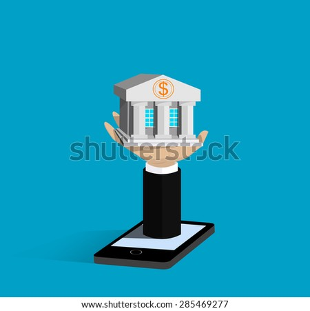 Flat isometric mobile banking, e banking concepts. Vector  - stock vector
