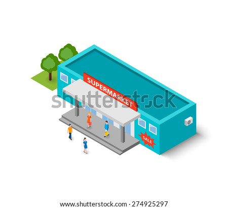 Flat isometric supermarket building with little people with purchases, isolated on white background, vector illustration. Food delivery. 3D design elements for construction urban landscapes. - stock vector