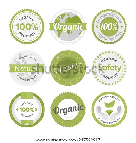Flat label collection of 100% organic product and premium quality natural food badge elements. Flat design style modern vector illustration concept. Isolated on white background. - stock vector
