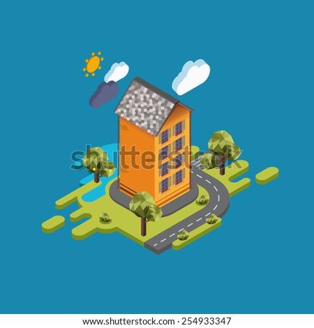 Flat landscape street infographic 3d isometric concept. - stock vector