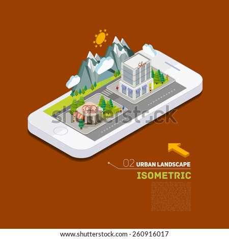 Flat landscape street location 3d isometric concept on the phone. Application territory building in the natural landscape. - stock vector