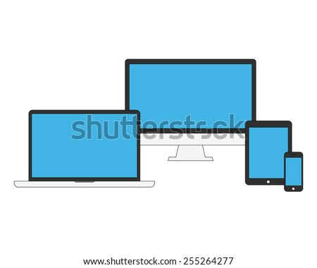 Flat laptop, tablet computer, monitor and smartphone with empty blue screen. Gadget isolated on white background. Vector illustration EPS10 - stock vector