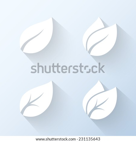 Flat leaves icons. Vector illustration - stock vector