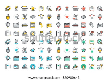 Flat line colorful icons collection of creative process, design, art, movie, making and editing of photography, literature, painting, product development, artist portfolio. - stock vector