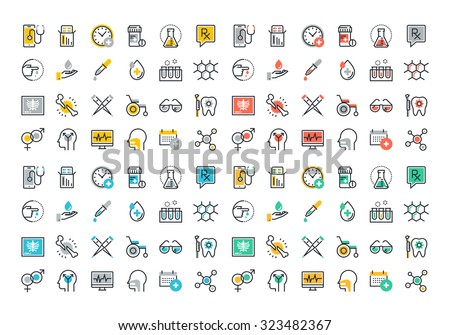 Flat line colorful icons collection of medicine theme, healthcare diagnosis and treatment, laboratory tests, medical supplies, medicines and equipment, biochemical and microbiological analysis - stock vector