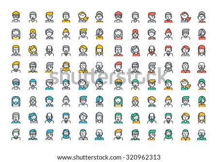 Flat line colorful icons collection of people avatars for profile page, social network, social media, different age man and woman characters, professional human occupation, portfolio. - stock vector