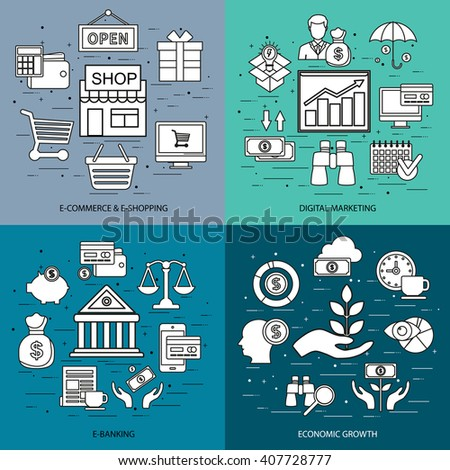 Flat line concept of shopping and retail commerce, e-commerce, m-commerce, delivery, digital marketing, e-banking, economic growth, online shop. Flat icon. Vector flat icon. Web icon. Business icon. - stock vector