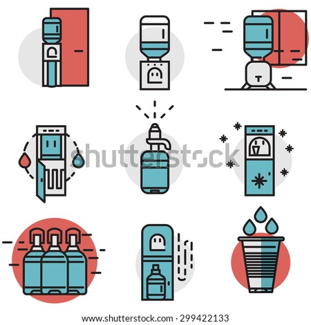 Flat line design blue and red vector icons for water cooler machine and supplies. Potable water delivery, water purifier, electric cooler machine for office, home and business. - stock vector