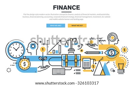 Flat line design concept for finance, market analysis, financial planning, accounting, corporate financial strategy, financial management, investment, for website banner and landing page. - stock vector